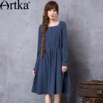 Artka Women's Spring New Solid Color Embroidery Dress Vintage Square Collar Long Sleeve Drawstring Waist Dress LA11660Q