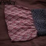 Artka Women's Summer New Boho Style Printed Lace Patchwork Chiffon Dress Half Sleeve Empire Waist Dress With Ruffles LA15052X