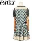 Artka Women's Summer New Catalonia Series Printed Embroidery Dress O-Neck Short Sleeve Dropped Waist Knee-Length Dress LA14356X