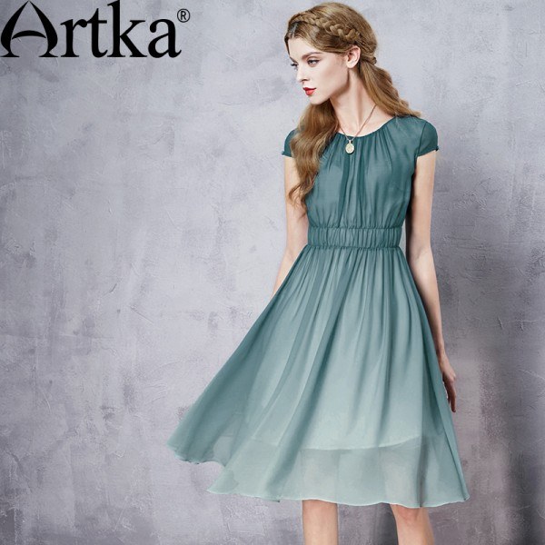 Artka Women's Summer New Gradient Color Chiffon Dress Elegant O-Neck Short Sleeve Empire Waist A-Line Dress LA11660X