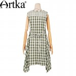 Artka Women's Summer New Plaid Patchwork Cotton Dress Fashion O-Neck Sleeveless Mid-Calf Irregular Hem Dress L114053X
