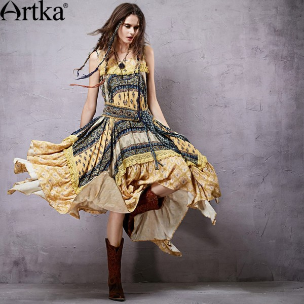 Artka Women's Summer New Provins Vintage Patchwork Elegant Dress O-Neck One-piece Asymmetrical Dress LA15151X