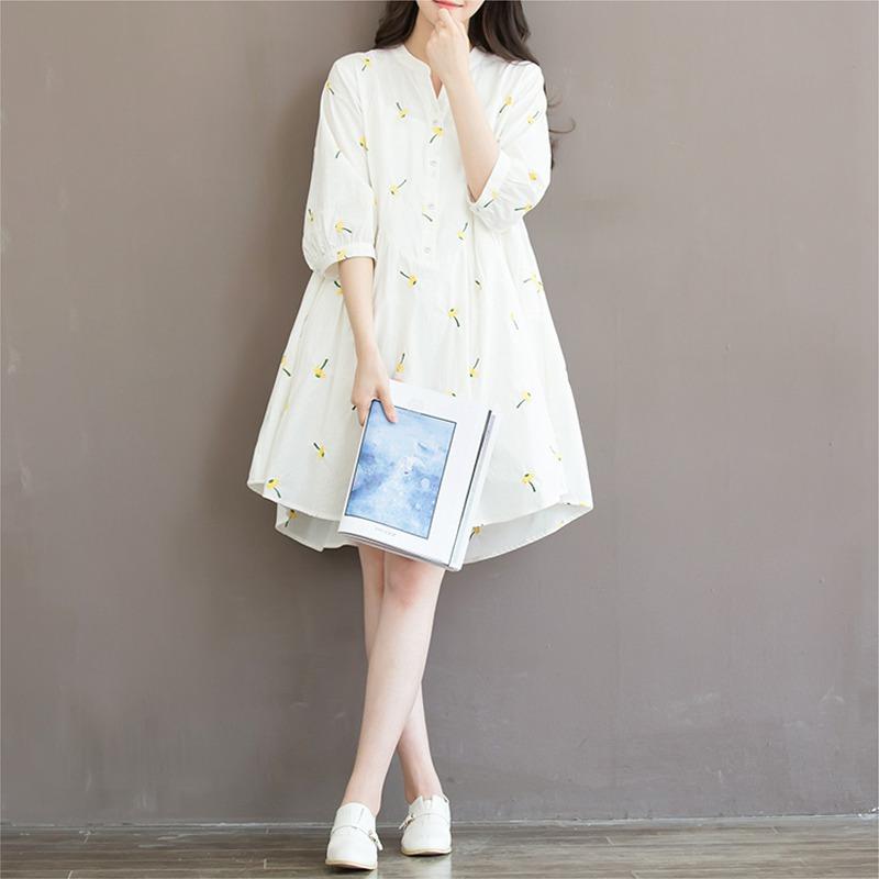 Autumn Dress White Color Embroidery Flower Plus Size Women Dress V ...