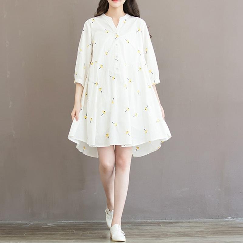 Autumn Dress White Color Embroidery Flower Plus Size Women Dress V