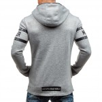 Autumn Fashion hoodies men zipper Letter print sweatshirts men's light gray hooded coat HD5285