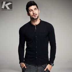 Autumn Mens Fashion T Shirts Button Black Brand Clothing Long Sleeve Man's Collar Cardigan T-Shirts Tops Tees Plus Size
