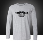 Autumn USCSS Nostromo Printed T-Shirt Cotton Prometheus Alien Weyland Yutani T shirt Mens Longt Sleeve Tee Tops Plus Size