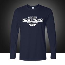 Autumn USCSS Nostromo Printed T-Shirt Cotton Prometheus Alien Weyland Yutani T shirt Mens Longt Sleeve Tee Tops Plus Size