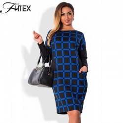 Autumn Winter Dress Women Plaid Patchwork Color Block Long Sleeve Plus Size 6XL Dress Elegant Shift Casual Slim Office Dress