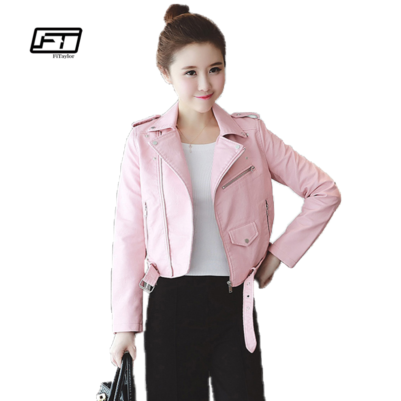 Autumn Winter Pink Blue Women Leather Jackets Soft Pu Faux