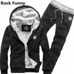 Autumn Winter Thick Sweatshirt Hoodie Suits Tank Hooded Fleece Suit Tops+Pants Set Mens Thick Winter Warm Casual Sweatshirt Set