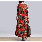 Autumn Witer  Women Dress fashion Plus Size bohemian floral printing Girls patchwork vintage Vestido De Festa Dress