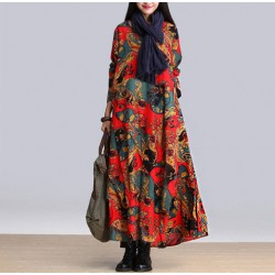 Autumn Witer  Women Dress fashion Plus Size bohemian floral printing Girls patchwork vintage Vestido De Festa Dress