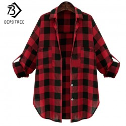 Autumn Women's Plaid Shirt Medium Long Casual Streetwear Loose Tops Women Clothing Blouse Big Plus Size 5XL 4XL 3XL T66286R
