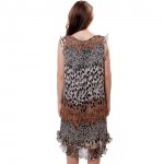BFDADI New 2016 Summer Leopard Pattern Pleated Dress Women's Sleeveless Small flounced Hem Dresses Suitable for all sizes 7007