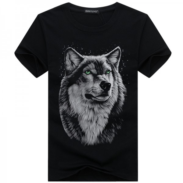 BINYUXD cotton 3d t shirt  men 2016 summer new arrvial 3D funny wolf  man's T-shirt extended plus size 4XL white black blue