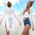 BJ273 Top Selling Summer Chiffon Beach Dress White Tassel Lace Floral Sex Girls Beach Dress See Through Front Open Robe De plage