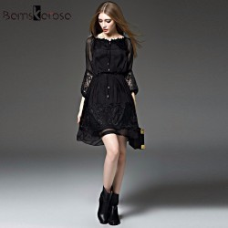 Bamskarosa New Sexy Lace Dress 2017 Spring Summer Dress Women Floral Tunic Vestidos Evening Party Dresses Plus Size Black XXL