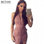 Beetone 2017 New Fashion Sexy Women Club Wear Dress Pink Mini Vestidos Bodycon Suede Elegant Christmas Party Dresses Plus Size