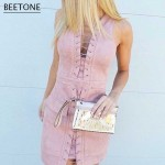 Beetone 2017 New Fashion Sexy Women Club Wear Dress Pink Mini Vestidos Bodycon Suede Elegant Christmas Party Dresses Plus Size