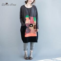 BelineRosa Plus Size Dresses for Girls Autumn Spring Women Bear Printing Long Sleeve Large Size Dress Fit L~3XL HS0147