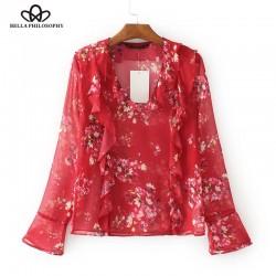 Bella Philosophy 2017 spring summer Red flowers printed flounce ruffles chiffon women shirt blouse