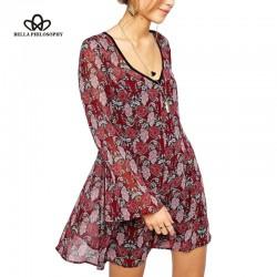 Bella Philosophy spring summer new Women swear wholesale Jacquard floral prints trumpet sleeves V neck backless causal dress
