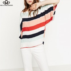 Bella Philosophy summer new women's  O-neck  Batwing sleeve striped chiffon blouse shirt Yellow Red hollow out ladies tee