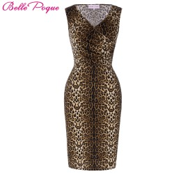 Belle Poque 2017 Sexy Leopard Dress Vintage Bodycon Women Sleeveless V Neck Fold Print Summer Slim Fit Pencil Party Club Dresses
