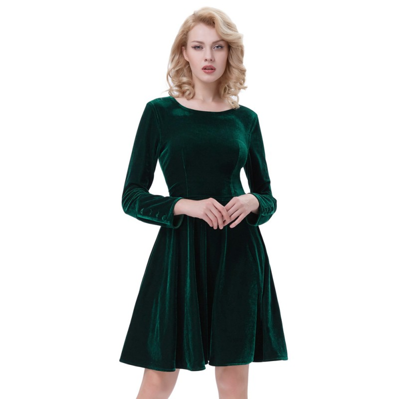 Belle Poque Velvet Dress Winter Long Sleeve Plus Size O Neck Green Tunic  Elegant Clothes Casual Vintage Party Dresses Women 2018