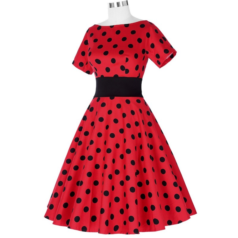Belle Poque Vintage Polka Dot Dress Short Sleeve O Neck Plus Size