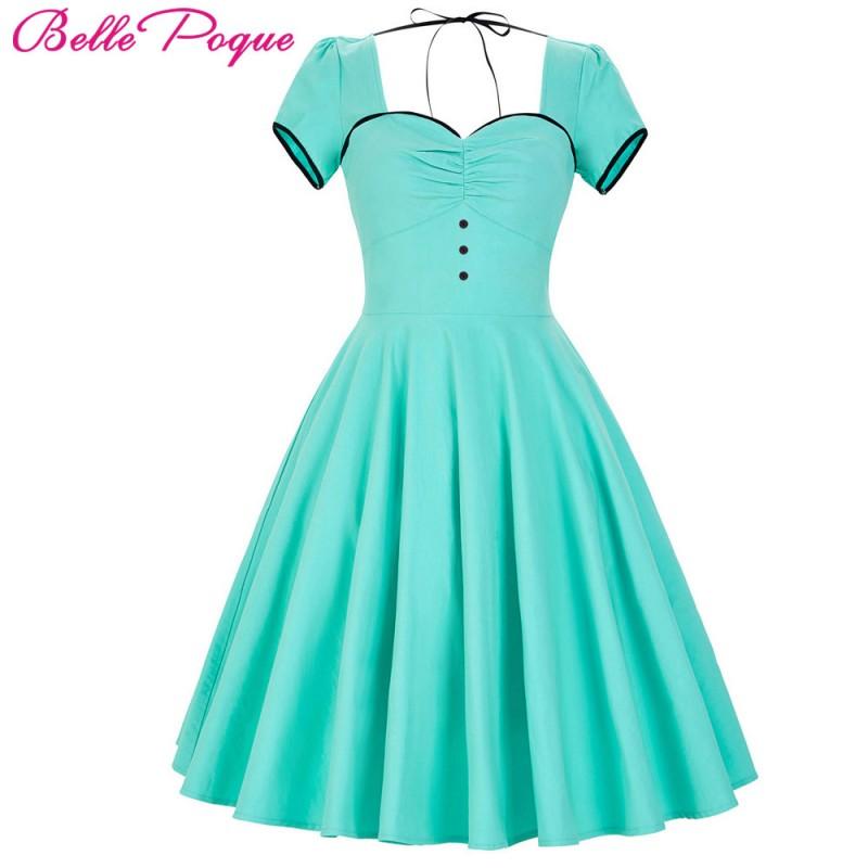 Belle Poque Womens Dresses 2017 50s Retro Vintage Short Sleeve ...