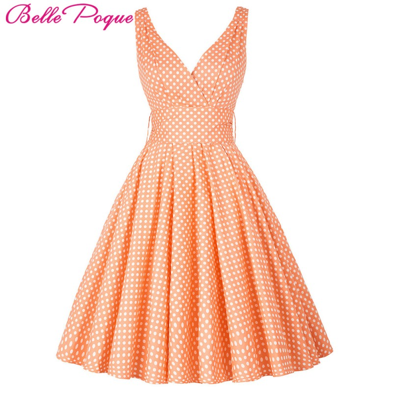 Belle Poque Womens Summer Dresses 2017 Plus Size Maggie Tang 50s 60s Robe Vintage Retro Pin Up Swing Polka Dot Rockabilly Dress