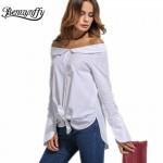 Benuynffy 2017 Fashion Spring White Cotton Shirt Women Tops Autumn Slash Neck Long Sleeve Slim Blouse Shirt Casual Blusas X769