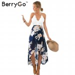 BerryGo Casual summer style beach lace backless dress Fashion sleeveless deep v neck women dresses Sexy slit print dress 2017