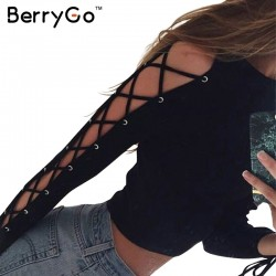 BerryGo Chic hollow out crop top femme Winter 2016 black lace up blouse shirt Women autumn evening party long sleeve short top