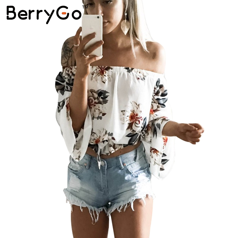 f9c704d94e7c4 BerryGo Floral print chiffon blouse women tops Off shoulder halter cool  long sleeve female blouse shirt Sexy loose white blusas