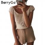 BerryGo Hollow out crochet blouse shirt Sexy tassel bow off shoulder blouse blusas Summer 2017 beach women tops