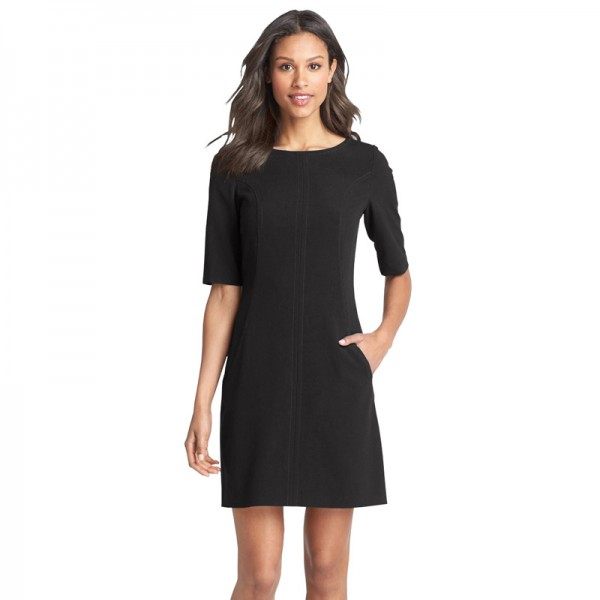Berydress Hot Fashion Women Pockets Business Dresses Elegant Sheath Bodycon Pencil Dress Short Sleeve Wear to Work 2017