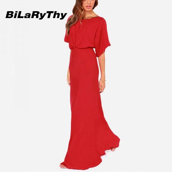 BiLaRyThy Elegant Sexy Occasion Red Backless Maxi Dresses O Neck Short Sleeve Floor Length Long Chiffon Dress for Summer