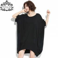 Big Size New Summer Women T-Shirt Solid Cotton Casual O-Neck Fashion Female Long Loose Tee Dresses Large Size 6XL Black Tshirt