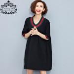Big Size Women Summer V-Neck T-Shirt Cotton Casual Tops&Tees Patchwork Female Students Plus Size Vintage   Fashion TShirt 4XL