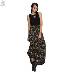 Black Floral Lace Up Maxi Skater Dress Sleeveless A Line Slim Casual Streetwear Party 2017 Women Summer