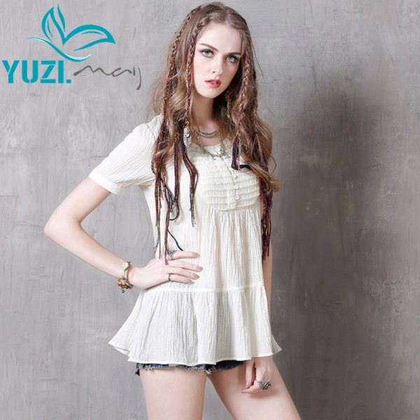 Blusas 2017 Yuzi.may Casual New Polyester Women Blouses O-Neck Short Sleeve Shirt Ruffles Hem Blusa Feminino B9118 Women Tops