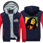 Bob Marley Men Hoodies Winter Jacket Thicken Fleece Zipper Hip Hop Sweatshirt USA size Plus size