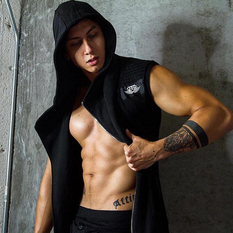 Body Engineers Mens Fitness Clothing Sleeveless Hoodies Crossfit Zipper Jackets Sweatshirts Bodybuilding Sportswear Topcoat