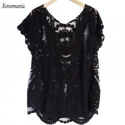 Body Feminino White Lace Blouse Crochet Women Blouses 2017 Korean Summer Boho Tops Vintage Shirt Blusas Chemise Femme Clothing