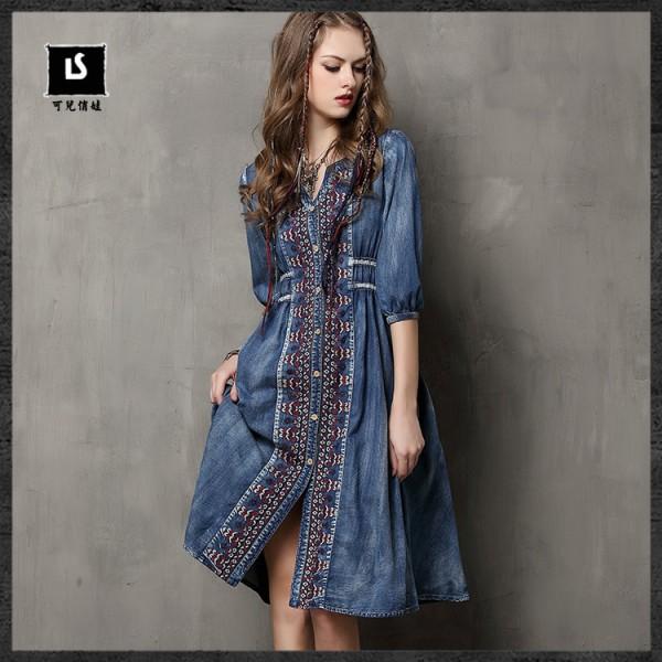 Boho Famous designer brand dresses Women 's Dress vintage embroidery denim Dress casual big hems jeans dress draw cord plus size