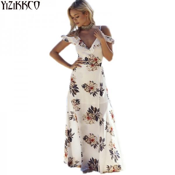 Boho Style Long Dress Women Beach Summer Off Shoulder Plus Size Dresses  Floral Print Vintage Chiffon White Maxi Dress vestidos