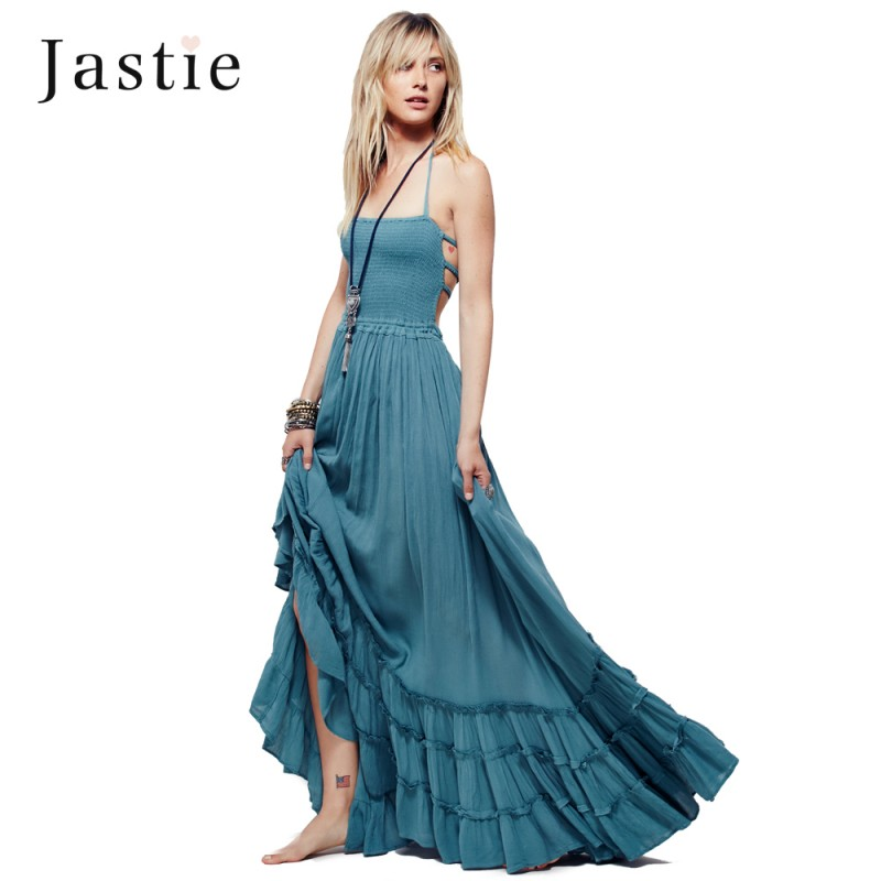 1ef1ad25d3 Boho Summer Crinkly Strapless Extratropical Maxi Dress Halter Neck Tie  Beach Dresses Raw Seam Hem Vestidos With Low Strappy Back